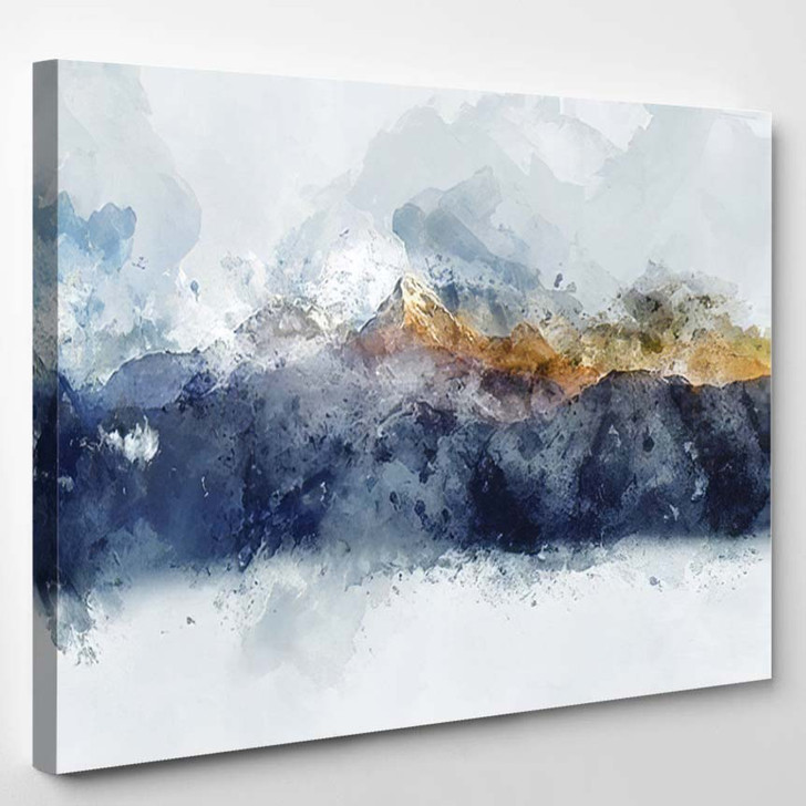 Abstract Mountain Ranges Morning Light Digital - Paintings Canvas Wall Decor