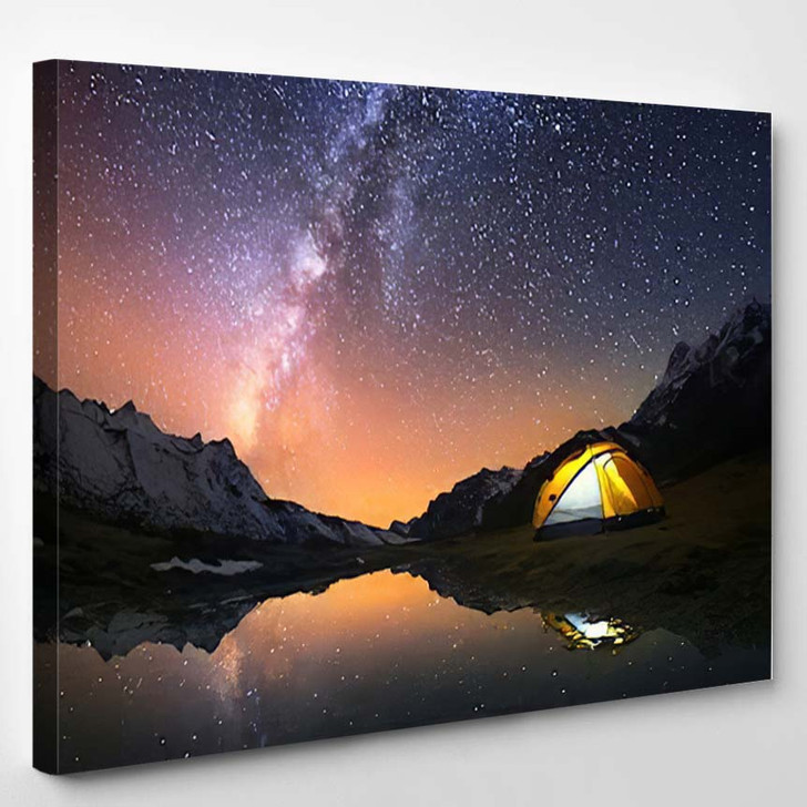 5 Billion Star Hotel Camping Mountains - Starry Night Sky and Space Canvas Wall Decor