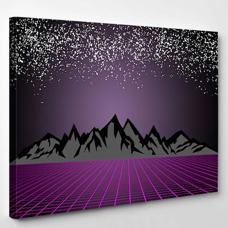 80S Style Scifi Dark Starry Sky - Starry Night Sky and Space Canvas Wall Decor