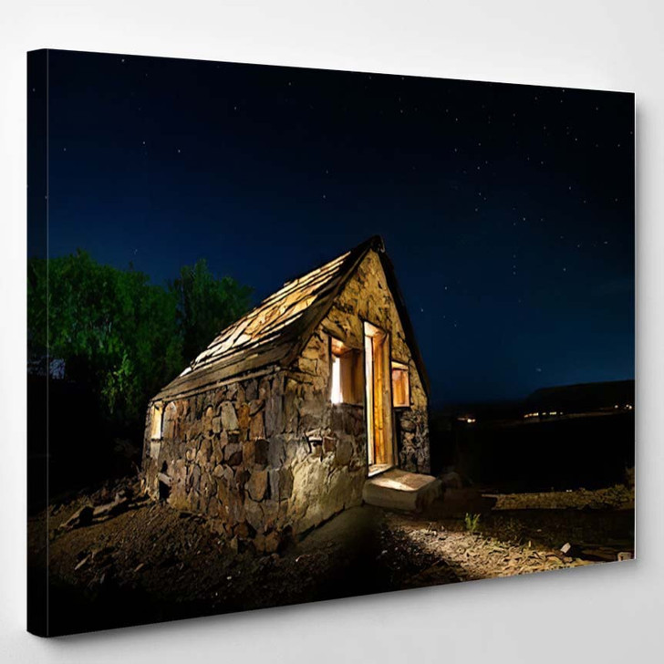 Abandoned Stone House Ruin Night Stars - Starry Night Sky and Space Canvas Wall Decor