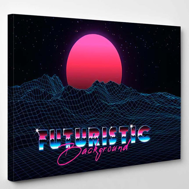 Abstract Synthwave Background Completed Retro Style - Starry Night Sky and Space Canvas Wall Decor