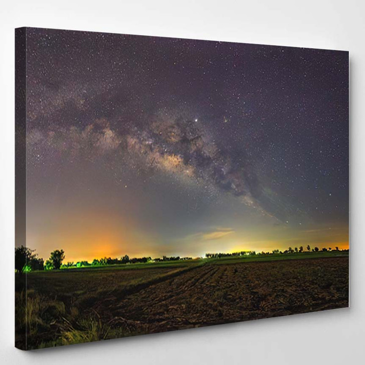Abstract Vintage Tone Long Exposure Photography - Starry Night Sky and Space Canvas Wall Decor