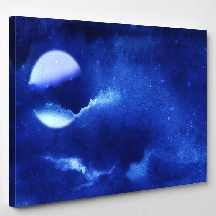 Abstract Watercolor Night Background Blue Tones - Starry Night Sky and Space Canvas Wall Decor