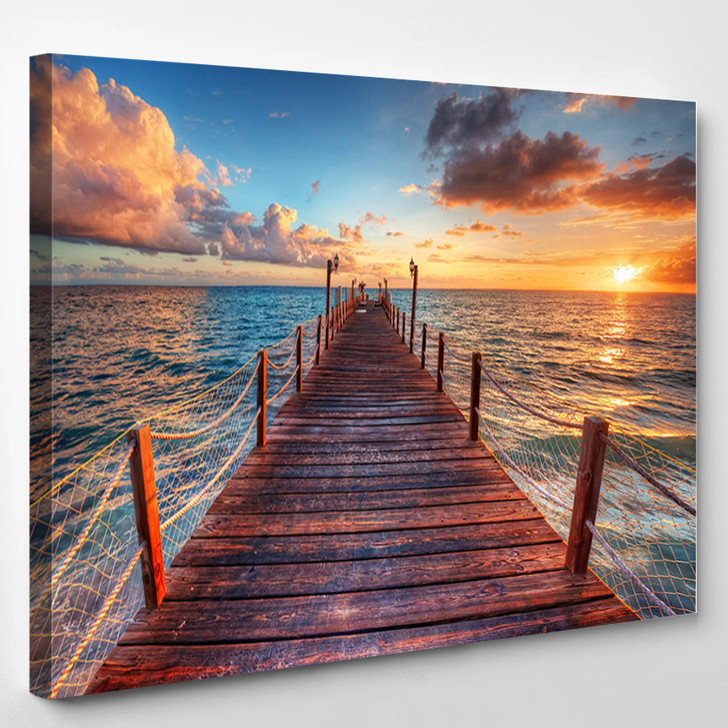 Brilliant Sunrise On A Sea Pier With Azure Waters - Nature Canvas Wall Decor