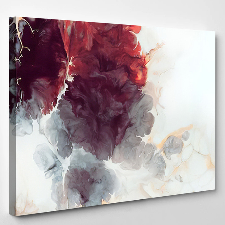 Burgundy Flowers Abstract - Abstrast Canvas Wall Decor