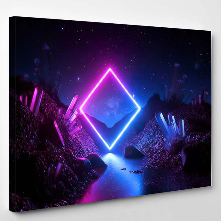 3D Render Abstract Neon Background Mystical - Sky and Space Canvas Wall Decor