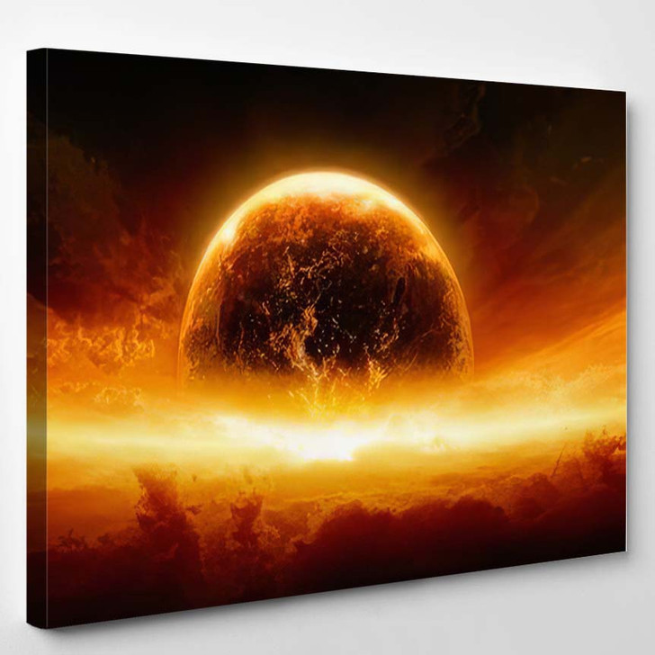 Abstract Apocalyptic Background Burning Exploding Planet 2 - Sky and Space Canvas Wall Decor