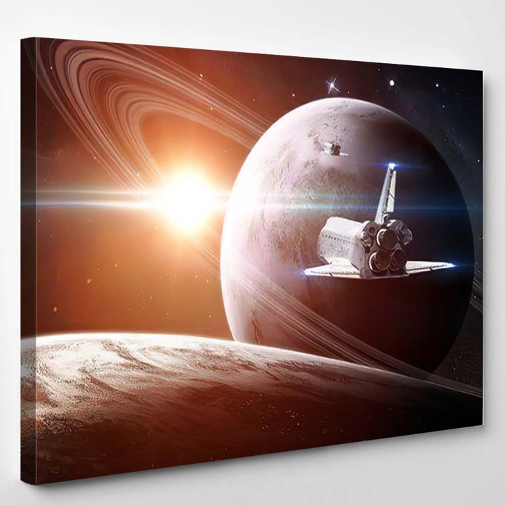 Abstract Scientific Background Glowing Planet Space 1 - Sky and Space Canvas Wall Decor