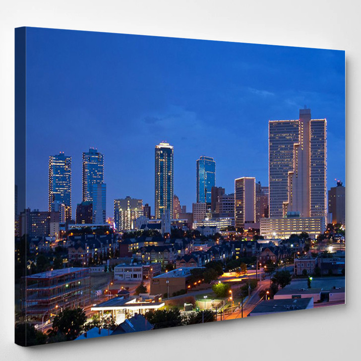 Fort Worth Texas At Night - Landscape Canvas Wall Decor