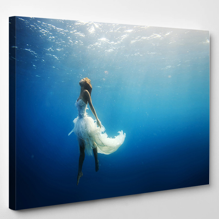 Girl Dancing Underwater - Abstrast Canvas Wall Decor