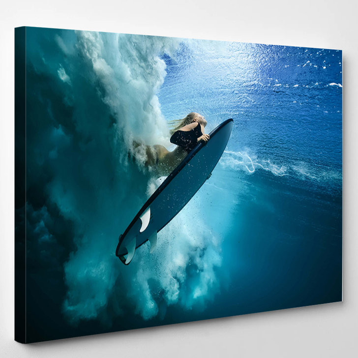 Girl Surfing - Abstrast Canvas Wall Decor