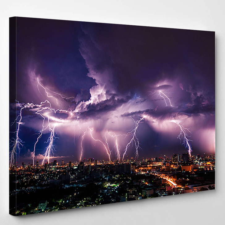 Lightning Storm Over City In Purple Light - Nature Canvas Wall Decor