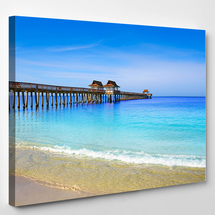 Naples Pier And Beach In Florida Usa Sunny Day - Landscape Canvas Wall Decor