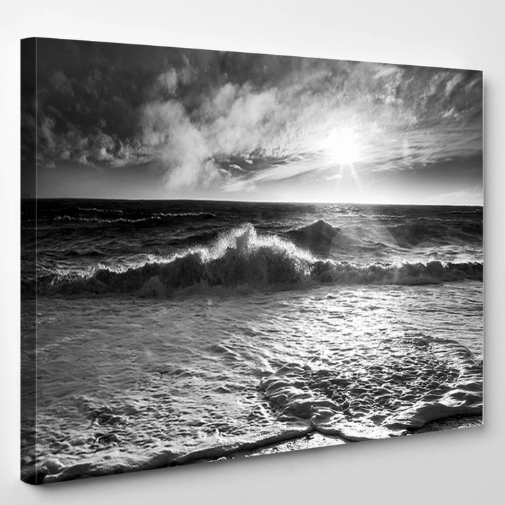 Ocean Waves With A Sunburst And Lens Flare On A Windy Day In Black And White - Nature Canvas Wall Decor