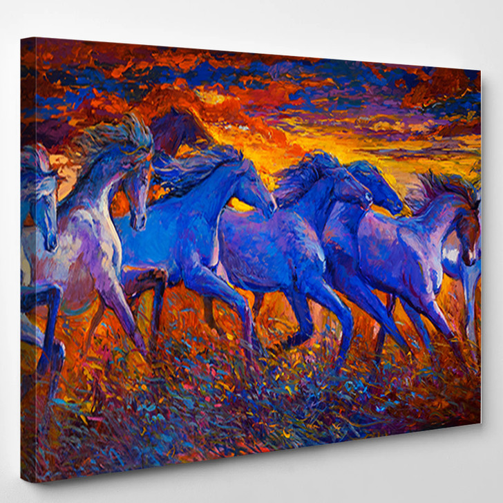 Oil Painting Running Horses - Animals Canvas Wall Decor
