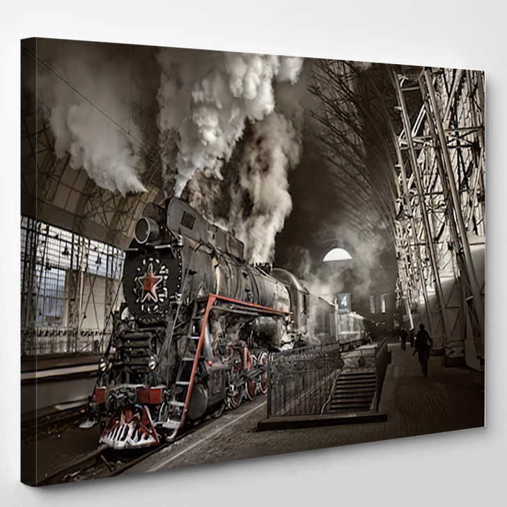 Steam Train At The Station - Industrial Canvas Wall Decor