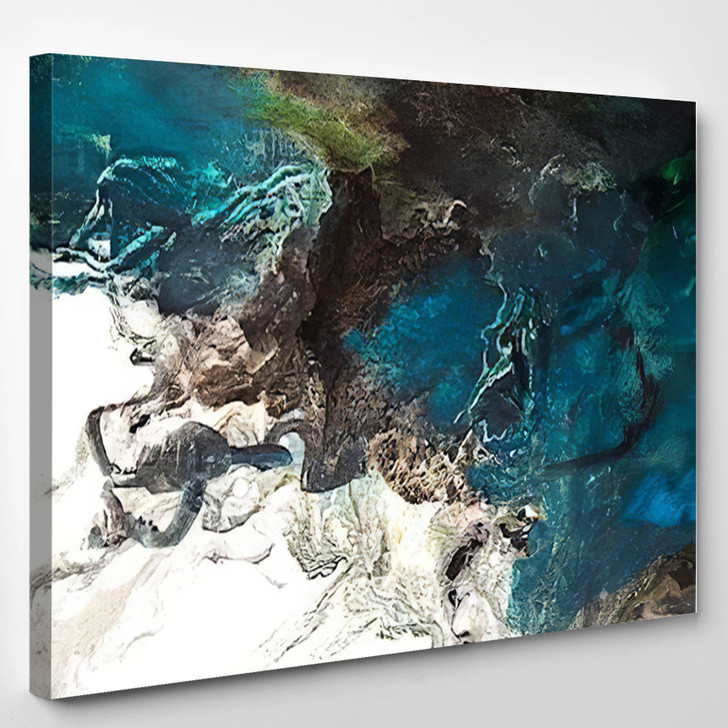 Turtle On The Sea Coast Abstract - Abstrast Canvas Wall Decor