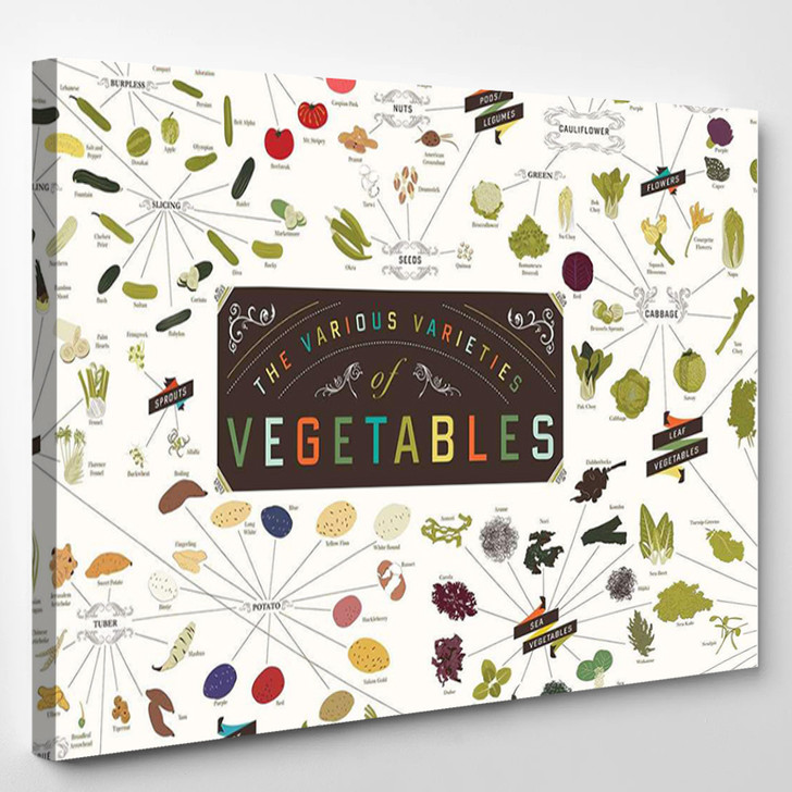 Various Varieties Of Vegetables - Abstrast Canvas Wall Decor