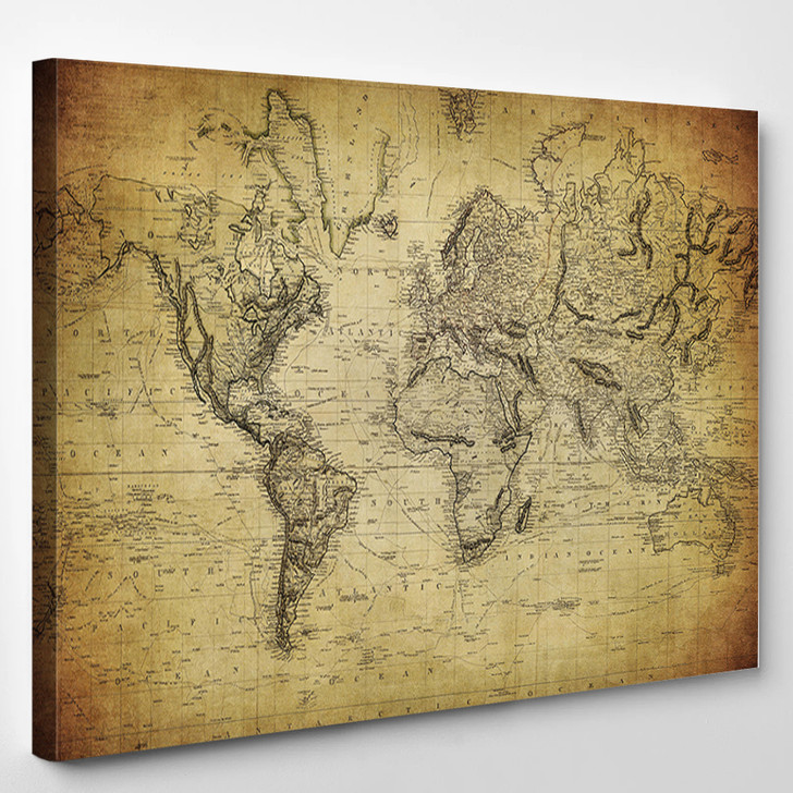 Vintage Map Of The World - World Map Canvas Wall Decor