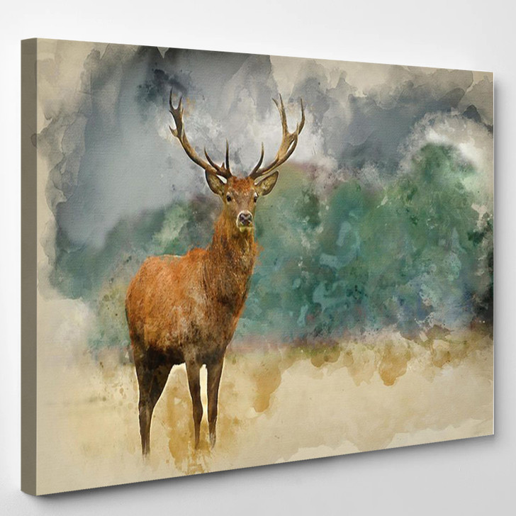 Watercolor Painting Of Majestic Red Deer Stag In Autumn Fall Forest - Animals Canvas Wall Decor
