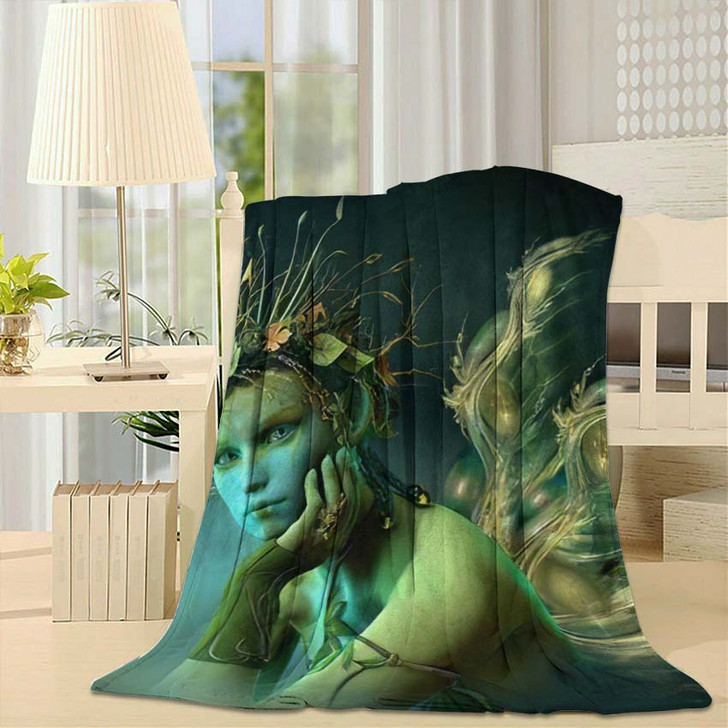 3D Computer Graphics Fairy Wings Wreath - Fantasy Fleece Throw Blanket