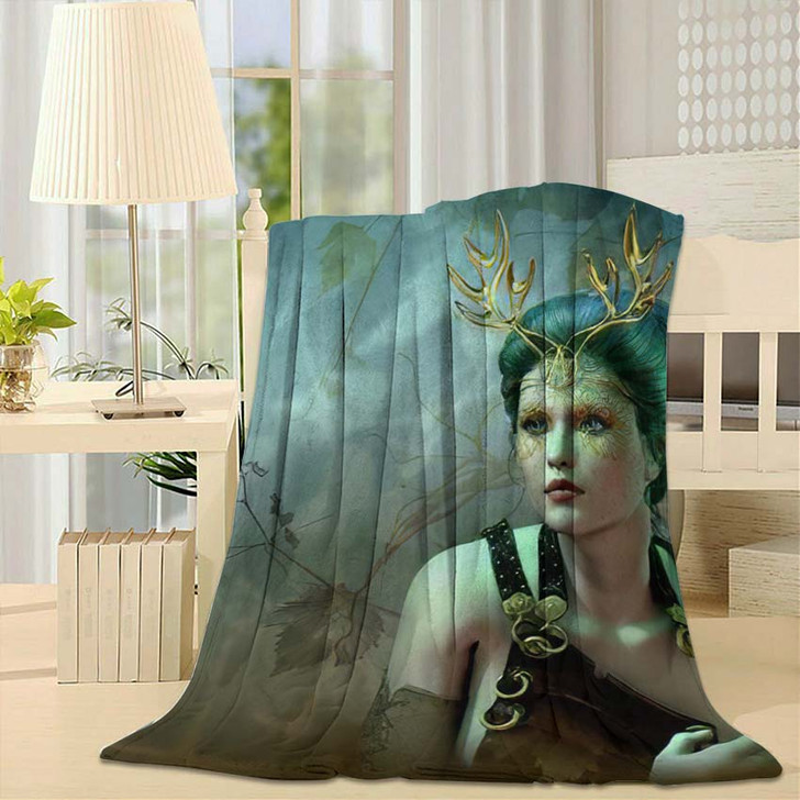 3D Computer Graphics Girl Golden Antlers - Fantasy Fleece Throw Blanket