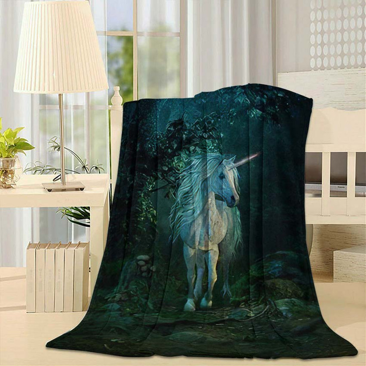 3D Computer Graphics Mythical Unicorn On - Fantasy Fleece Throw Blanket