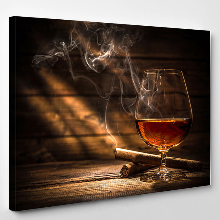 Whiskey And Cigar - Wine And Cigar Canvas Wall Decor