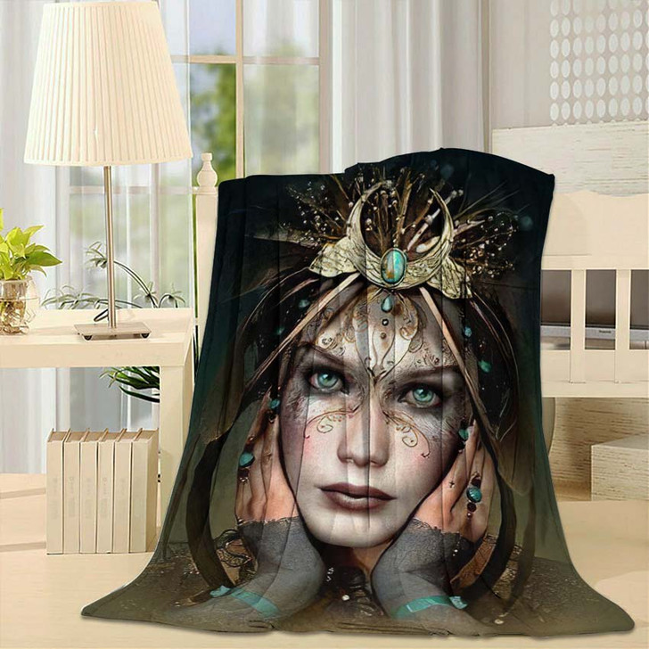 3D Computer Graphics Portrait Girl Headgear - Fantasy Fleece Throw Blanket