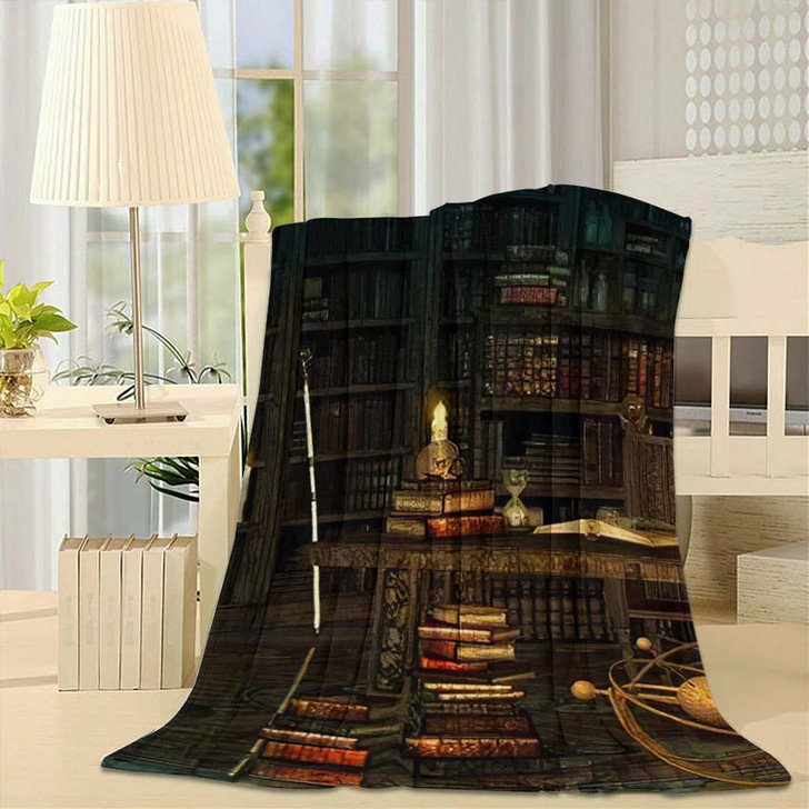 3D Computer Graphics Study Magician Middle - Fantasy Fleece Throw Blanket