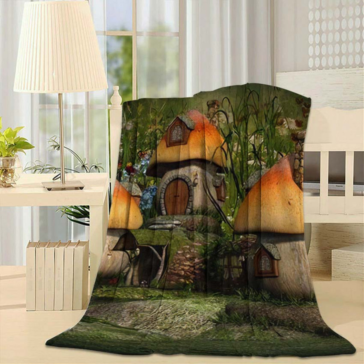 3D Computer Graphics Village Leprechaun Cottages - Fantasy Fleece Throw Blanket