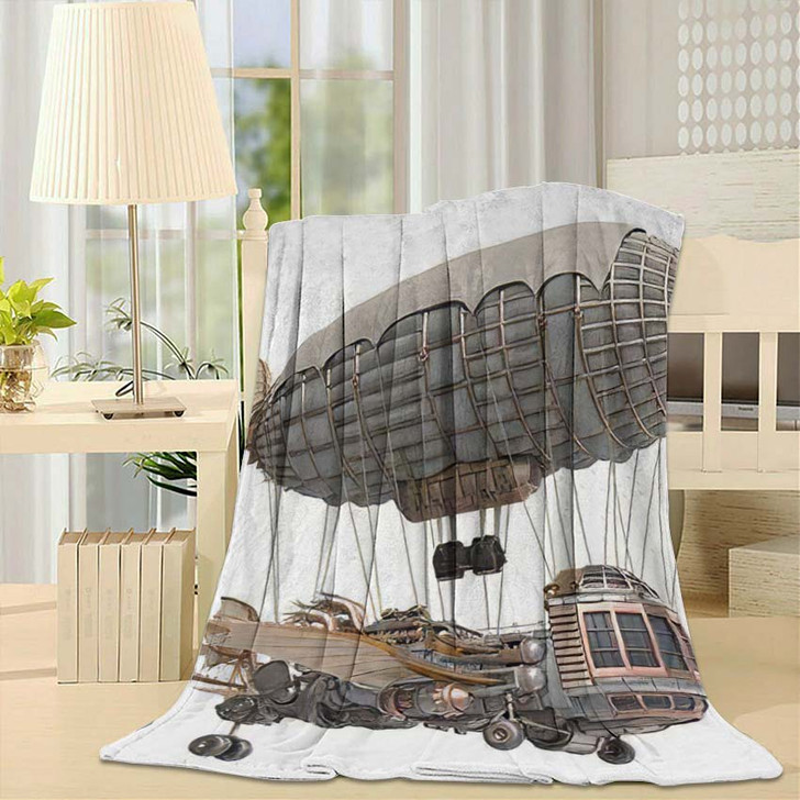 3D Illustration Fantasy Airship Steampunk Style - Fantasy Fleece Throw Blanket