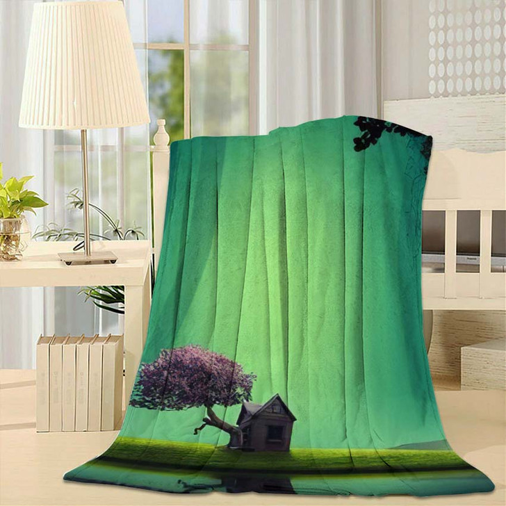 3D Illustration House Lakeside Forest Fantasy - Fantasy Fleece Throw Blanket