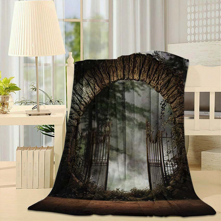3D Illustration Stone Gated Moon Entrance - Fantasy Fleece Throw Blanket