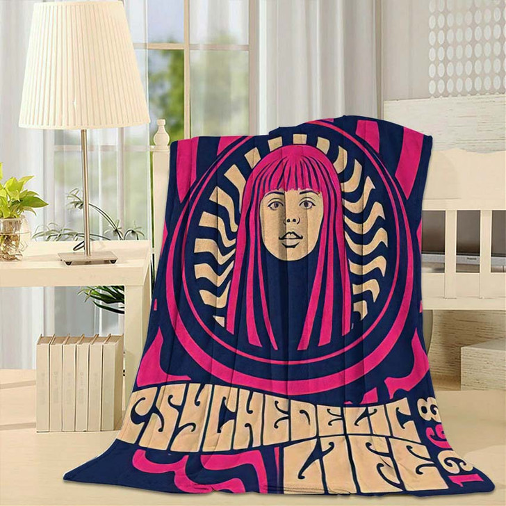 1960S 1970S Psychedelic Art Poster Hippie - Psychedelic Fleece Throw Blanket