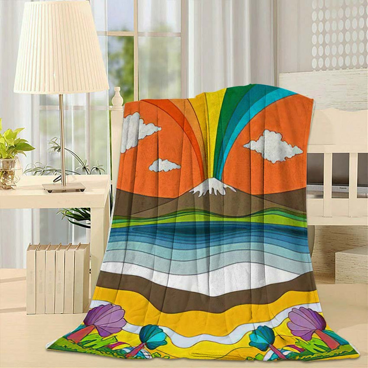 1960S Psychedelic Pattern Poster Cover Template - Psychedelic Fleece Throw Blanket