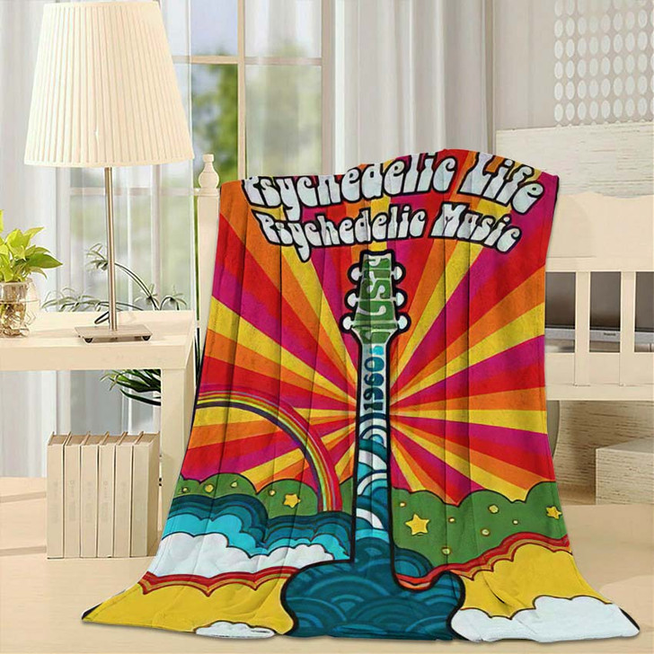 1960S Psychedelic Poster Vintage Colors Electric - Psychedelic Fleece Throw Blanket