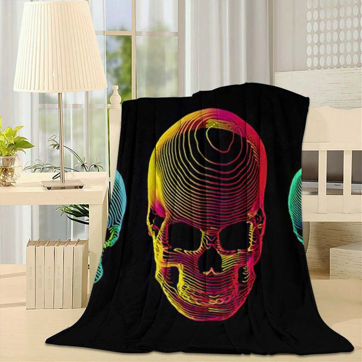 3 Psychedelic Gradient Colorful Line Skull 1 - Psychedelic Fleece Throw Blanket