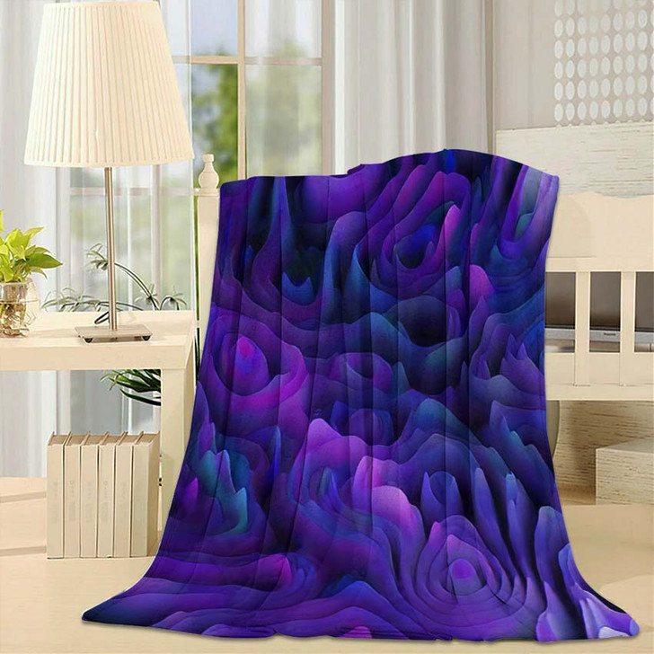 3D Abstract Seamless Pattern Organic Gradient - Psychedelic Fleece Throw Blanket
