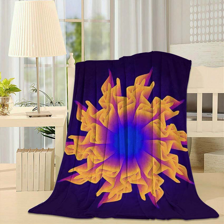 3D Flower Mesh Illustration Abstract Psychedelic - Psychedelic Fleece Throw Blanket