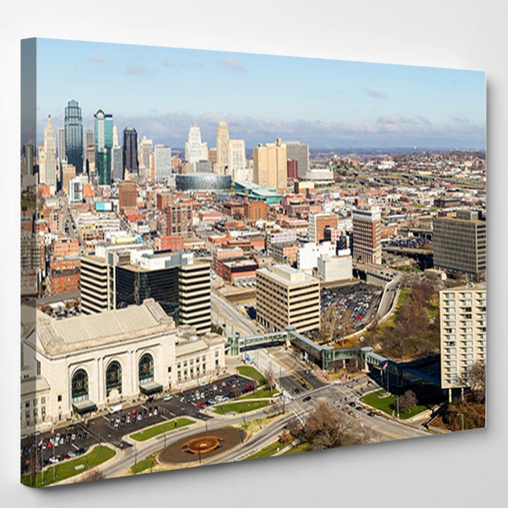 A Large Panoramic View Of Kansas City Missouri During The Daytime - Landscape Canvas Wall Decor