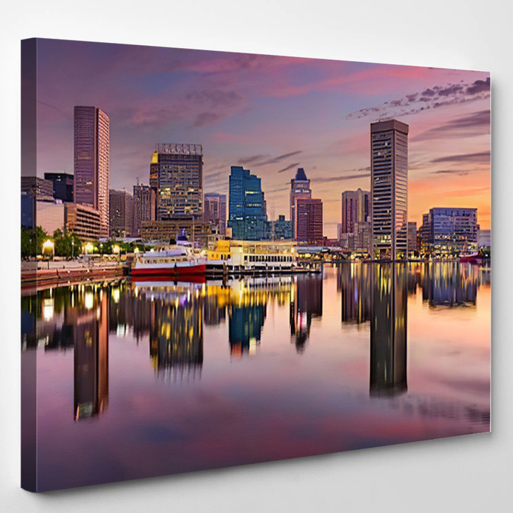 Baltimore Maryland USA Skyline At The Inner Harbor - Landscape Canvas Wall Decor
