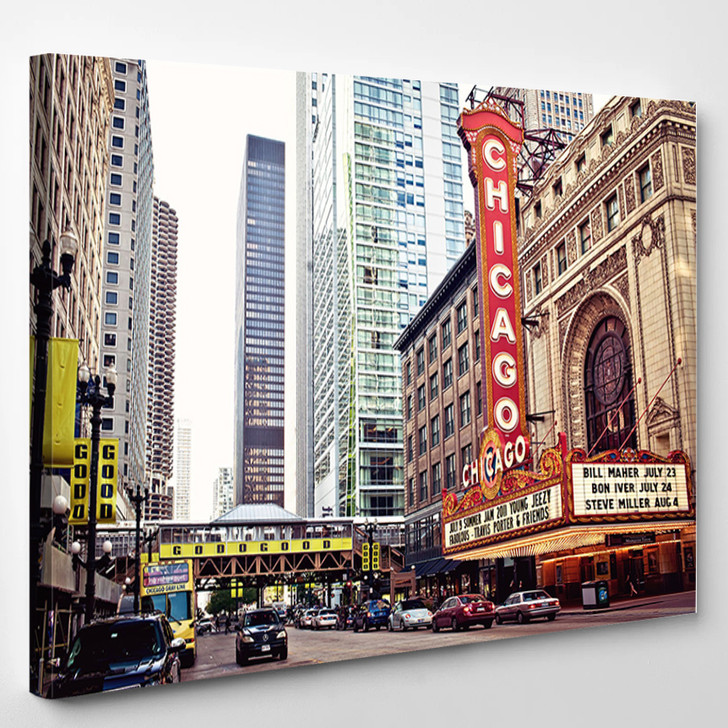 Chicago Theater On State Street Chicago Illinois - Landscape Canvas Wall Decor