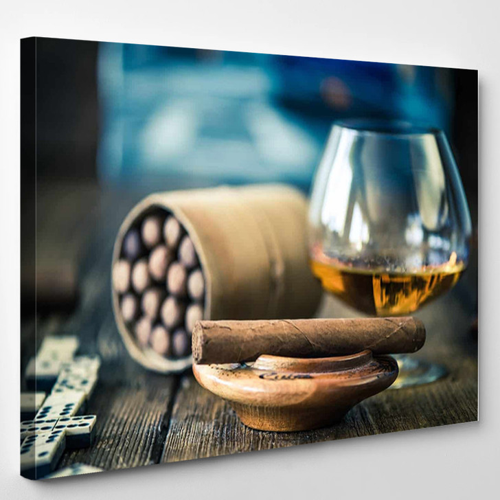 Cigars And Glass - Wine and Cigar Canvas Wall Decor