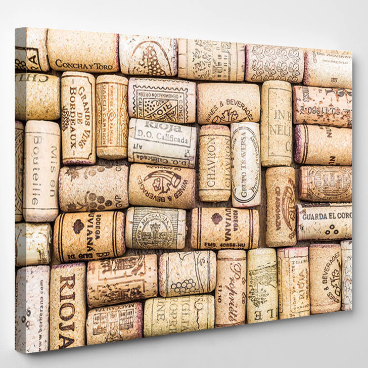 Closeup Pattern Background Of Many Different Wine Corks - Landscape Canvas Wall Decor
