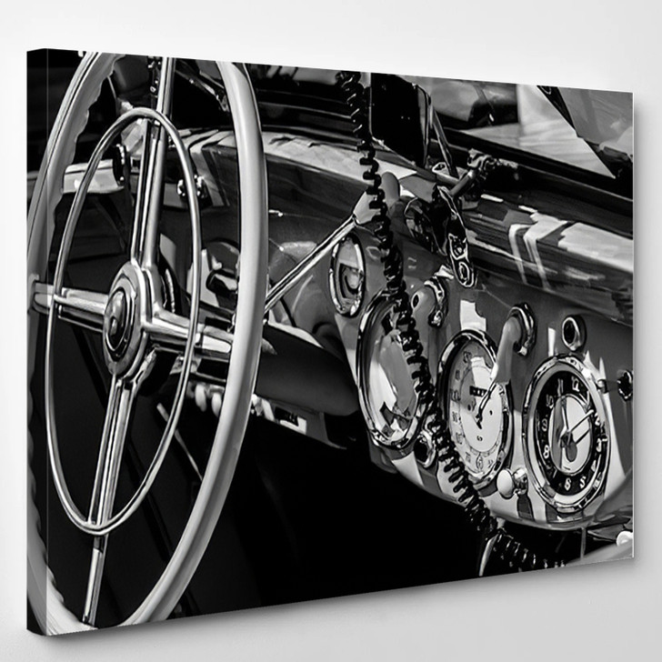 Dashboard Old Car In Black And White Retro - Industrial Canvas Wall Decor