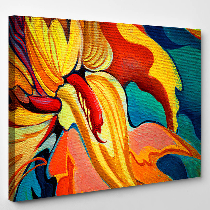 Decorative Flower Painting By Oil On Canvas Illustration - Abstract Canvas Wall Decor