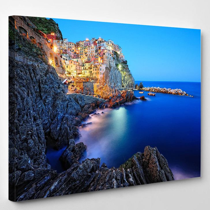 Evening In Manarola A Beautiful Village In The National Park Of Cinque Terre Italy - Landscape Canvas Wall Decor