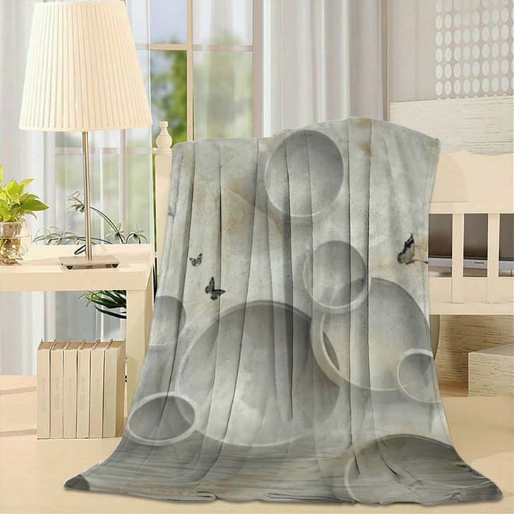 3D Marble Circle Illustration Background Rendering - Abstract Art Fleece Throw Blanket