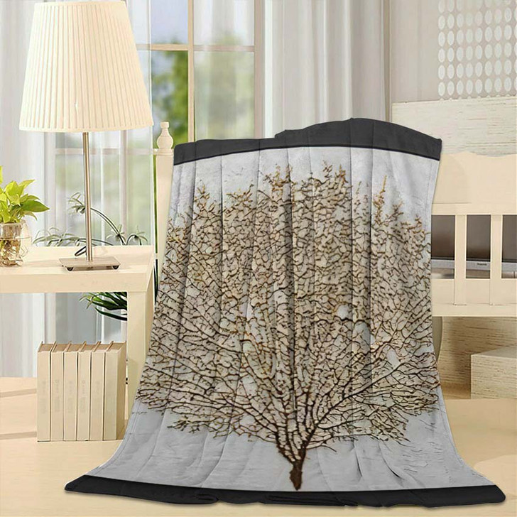 3D Render Picture Gold Coral - Abstract Art Fleece Throw Blanket